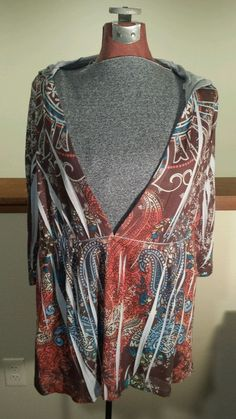 Women's Plus Size 2X Live and Let Live Woman 3/4 Sleeve Hooded Floral Shirt EUC  #LiveandLetLive #KnitTop #Casual