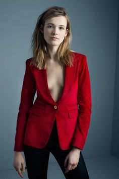 Peaked+Lapel+Blazer+in+scarlet+with+black+leather