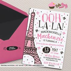 Paris invitation Paris theme party Paris Decor Paris themed