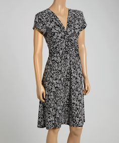 This Black & White Dot Cluster Cap-Sleeve Dress by Connected Apparel is perfect! #zulilyfinds