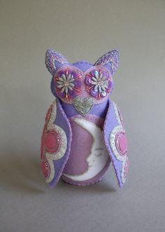 Embroidered Owl - Mexican Folk Art - Loteria - La Luna - The Moon-  Violet - Purple - Lilac - Lavender