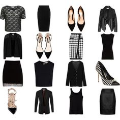 My Black basic work wardrobe by samtowanda on Polyvore featuring Miss Selfridge, Emilio Pucci, rag & bone, Reiss, Uniqlo, Alice + Olivia, Pull&Bear, Topshop, Balmain and Gianvito Rossi