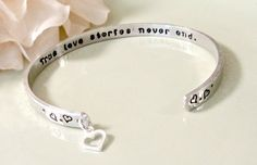 Hand Stamped Wedding Anniversary Bracelet  by ForeverHeartPrints, $29.00