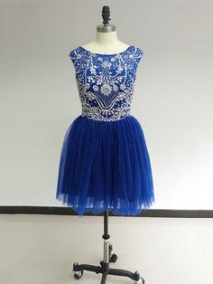 Royal Blue Sleeveless Mini A Line Beading Ruffles Scoop Neckline Short Homecoming Dress Vintage Homecoming Dresses, Two Piece Homecoming Dress, Homecoming Dresses Long, Bridesmaid Dresses, Graduation Dresses, Prom Gowns, Short Prom, Quinceanera Dresses, Party Dresses