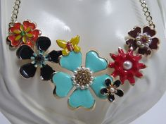 Enamel Flower Statement Necklace Multi Color by BianchiDesigns, $20.00