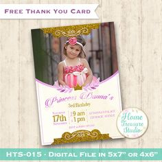 Baby Invitation with Photo Printable, Free Thank You Tent, Girl Birthday Invite, Princess Party, Photo Invite Girl HTS-015