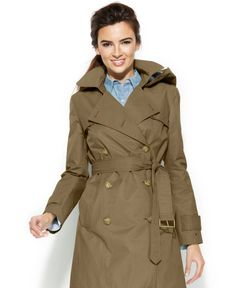 Tommy Hilfiger Hooded Double-Breasted Belted Trench Coat