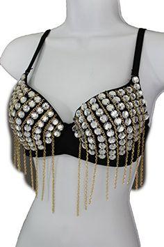 eb3c2992112da TFJ Women Sexy Fashion Bra Corset Top Bralette Clubwear Silver Beads Long  Gold Chains 36B 80B