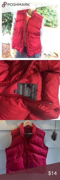 Red Puffer Vest from Montreal Red Puffer Vest that I picked up in Montreal a few years ago. Preowned but no issues. Size large, 8-10 fit best IMO. Boutique Jackets & Coats Vests