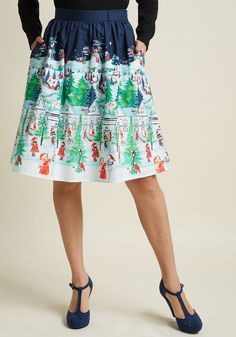 Charming Cotton Skirt with Pockets in Winter Wonderland