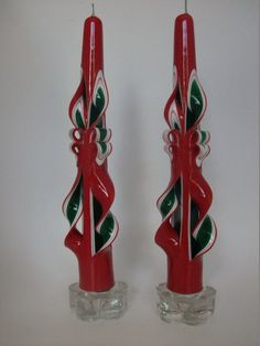 These hand-carved tapers are made with deep green and white centers, over-dipped with bright Christmas red wax, reminiscent of old-fashioned ribbon candy. Red Candles, Taper Candles, Christmas Candles, Red Christmas, Candle Set, Candle Holders, Ribbon Candy, Hand Carved, Wax