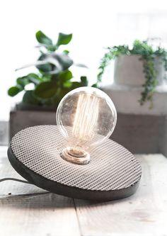 Concrete circle lamp by ScandinavianStone on Etsy