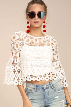 You'll always want to keep the Nearness of You White Crochet Crop Top close at hand! Intricate crochet lace forms this eye-catching crop top with a bateau neckline, and long, bell sleeves. Scalloped hem.