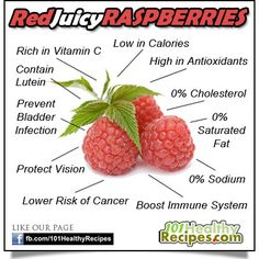 ♥ Red Juicy Raspberries - What Can They Do For You? ♥    Raspberries are:  ᴥ Rich in Vitamin C  ᴥ High in Antioxidants  ᴥ Packed with Lutein  ᴥ Low in Calories  ᴥ Without Cholesterol  ᴥ Without Saturated Fat  ᴥ Without Sodium    Raspberries are good for:  ᴥ Bladder Infection Prevention  ᴥ Eyesight  ᴥ Immune System  ᴥ Cancer Prevention