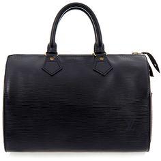 Louis Vuitton Vintage Black Speedy 25 EPI Leather Bag (€820) ❤ liked on Polyvore featuring bags, handbags, purses, sacs, bolsas, black, vintage purse, genuine leather handbags, leather man bag and louis vuitton purses