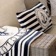 anchor blue & white pillow & throw for my beach house. Nautical Stripes, Nautical Design, Nautical Home, Nautical Style, Coastal Style, Coastal Decor, Coastal Living, Nautical Fashion, Coastal Homes