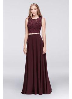 Scalloped Top and Chiffon Skirt Two-Piece Dress 3186DY6C