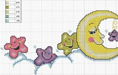 Blanket strip_Luna and stars, Baby Cross Stitch Patterns, Cross Stitch Baby, Cross Stitch Alphabet, Baby Embroidery, Cross Stitch Embroidery, Machine Embroidery, 3d Perler Bead, Tapestry Crochet, Canvas Patterns