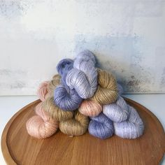A mountain of super soft sport weight Silk/Mohair in colorways 'Peach', 'Toffee', 'Lilac' and 'Lavender'. All plant dyed natural fibers. Ethical and sustainable yarn hand dyed in Austria. Lilac, Lavender, All Plants, Toffee, Austria, Knit Crochet, Fiber, Peach, Mountain
