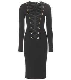 Givenchy - Lace-up jersey dress - Givenchy proves the master of body sculpting with this lace-up dress. We love its second-skin fit and gold-tone eyelet detailing that adorns the front. Style with the sexiest of heels. seen @ www.mytheresa.com
