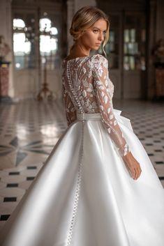 Milla Nova Simply 2020 Fall Bridal Collection – The FashionBrides Simple Wedding Gowns, Stunning Wedding Dresses, White Wedding Dresses, Wedding Dress Styles, Elegant Wedding, Long Sleeve Bridal Dresses, Wedding Gowns With Sleeves, Bridal Gowns, The Dress