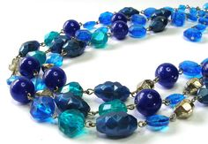 Vintage 1950s Three Strand Blue Lucite Necklace by SwankyJewels, €30.00