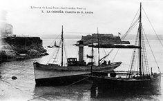 Isla del Castillo de San Antón Sailing Ships, Industrial, Boat, History, Antique Photos, Castles, Islands, Cities, Toys