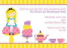 Alice in Wonderland Birthday Party Invitations