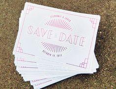 Stephanie + Jared's Modern Art Deco Save the Dates | Design + Photo: TENINETEEN | Printing: Boelte-Hall | Calligraphy: Stephanie Morris