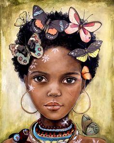 niño de África inspiró con mariposas Framed art por claudiatremblay