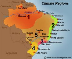Maps and tables on Climate, temperatures and rain in Brazil