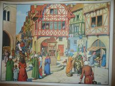 Vintage French school poster middle ages city life build cathedral Elizabethan house stocks MDI wall art double sided retro interior design by Lampposted on Etsy Retro Interior Design, Medieval Paintings, Medieval Life, Art Story, School Posters, French School, City Life, Middle Ages, French Vintage
