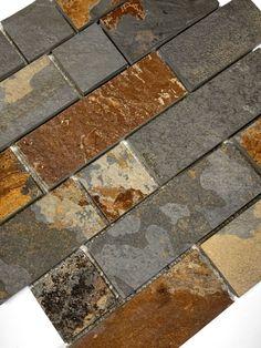Rusty Brown Slate Mosaic Backsplash Tile For Traditional Kitchen Mosaic Backsplash, Kitchen Backsplash, Kitchen Cabinets, Small Rustic Kitchens, Canyon Stone, Traditional Kitchen, Home Decor Kitchen, Slate, Natural Stones