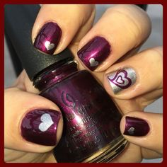 Opting for bright colours or intricate nail art isn't a must anymore. This year, nude nail designs are becoming a trend. Here are some nude nail designs. Heart Nail Art, Heart Nails, Nail Polish Art, Nail Polish Colors, Colorful Nail Designs, Nail Art Designs, Heart Nail Designs, Valentine Nail Art, Valentine Nail Designs