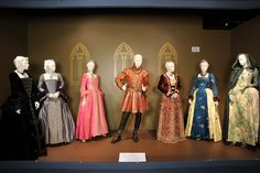 (L to R)  Costumes worn by Actors: Maria Doyle Kennedy as Catherine of Aragon, Natalie Dormer as Anne Boleyn, Annabelle Wallis as Jane Seymour, Jonathan Rhys Meyers as King Henry VIII, Joss Stone as Anne of Cleves, Tamzin Merchant as Katherine Howard and Joely Richardson as Catherine Parr.