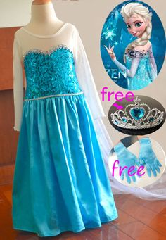Frozen Elsa Dress Up Gown Costume Girl dress Free Gloves & Tiara Snowflakes cape in Clothing, Shoes & Accessories, Costumes, Reenactment, Theater, Costumes | eBay