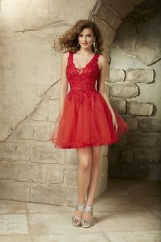 Wishesbridal Sexy V Neck #Short Red Organza A Line Cocktail #HomecomingDress Css0065