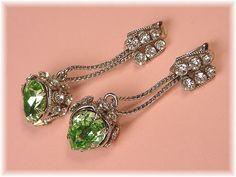 Juliana Stunning Large Art Deco Green Crystal by FindMeTreasures