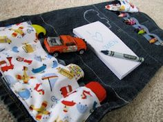 Toy car and crayon clutch