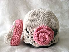 Hand Knitted Baby Hat  in Ivory Lace with a  ROSE by any OTHER COLOR -cotton knitted baby cloche- Knitted Children Clothing