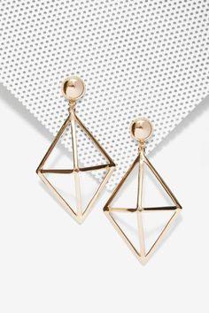 Foxy Roxy Cage Drop Earrings - Accessories | Earrings | Gold - I'd want in silver....