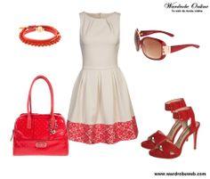 Buenos días chic@s!! Hoy una propuesta alegre y fresca para empezar la semana a tope, http://wardrobeweb.com/wardrobe-red-cream/ feliz día guap@s!! #moda #fashion #dress