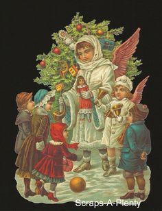 German Embossed Scrap Die Cut -Large Christmas Angel Tree & Children  BK5068