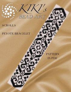Pattern peyote bracelet Scrolls peyote bracelet by KikisBeadArts Loom Bracelet Patterns, Peyote Stitch Patterns, Bead Loom Bracelets, Peyote Bracelet, Peyote Beading, Bead Loom Patterns, Beading Patterns, Cuff Bracelets, Beaded Bracelets