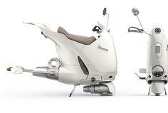 """Vespa """"Cento"""" Hover-Scooter on Behance Vespa Lambretta, Vespa Scooters, Scooter Bike, Futuristic Motorcycle, Futuristic Cars, Hover Bike, Monocycle, Motorbike Design, Concept Motorcycles"""