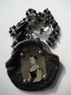 Mary Mary Quite Contrary Steampunk Victorian Handcrafted Artisan Tin Type Photo Necklace