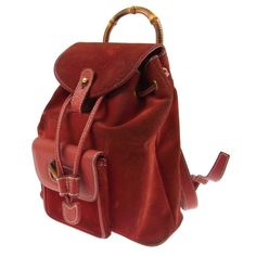 Authentic GUCCI Bamboo Backpack Hand Bag Red Suede Leather Italy Vintage 964Bh #Gucci #BackpackHandBag