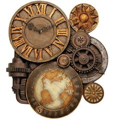 Steampunk Clock with world map