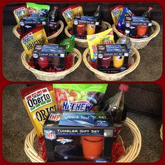 Football coaches gifts. I put together a simple basket of each coaches favorite drink, treats, NFL tumbler cups, and a movie theater gift card. It's hard work being a coach!