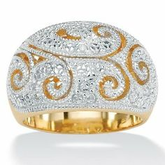 PalmBeach Jewelry Diamond Accent 18k Yellow Gold Over Sterling Silver Dome Ring Palm Beach Jewelry. $71.96